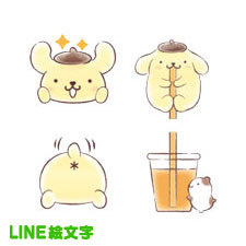 【LINE絵文字】ポムポムプリン 絵文字(水彩) ※有料